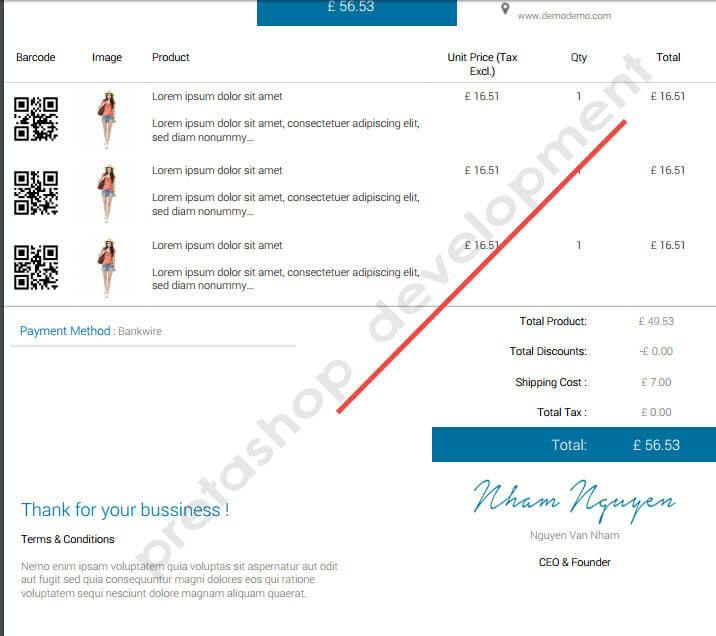 Invoice Template Google Drive Pdf Customize Invoice In Prestashop  Using Prestashop Custom  Standard Receipt Format Word with How To Organize Tax Receipts Excel  Foundation Picture For Your Receipt In Watermark Segment This Module  Enables You To Pick Show Message On The Watermark Moreover Google Invoices Templates Pdf